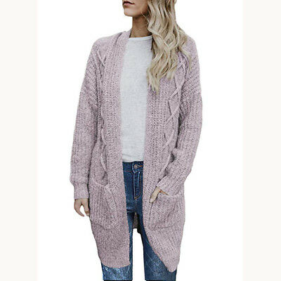 Womens Open Front Chunky Cable Knit Long Cardigan Sweater Pockets Outercoat Coat