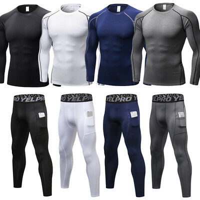 Compression Baselayer Tights Men's Long Pants Shirts Fitness Running Cool dry