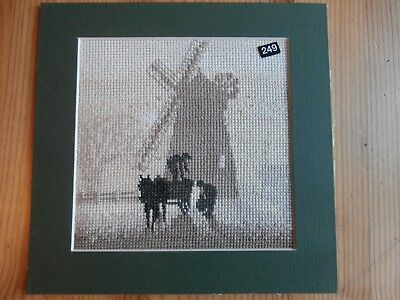 Silhouette Windmill Horse & Cart Completed counted cross stitch picture mounted