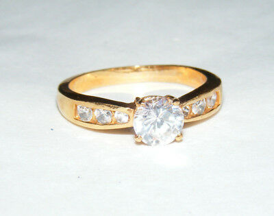 Vintage Costume Cocktail Gold Tone Clear Faceted Rhinestones Size 9.25 Ring B2