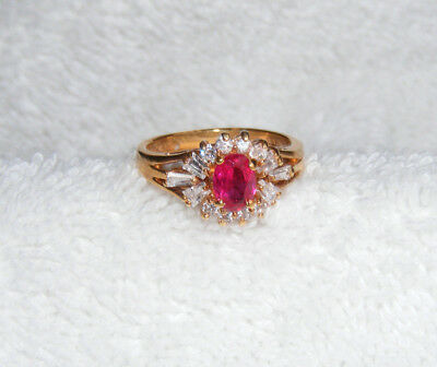 GORGEOUS Signed 14KHGE Red Oval & Clear Rhinestone Size 7.75 Ring A2