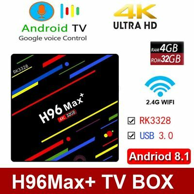 Andriod 8.1 H96 MAX+ Smart TV Box 4GB+32GB Quad Core USB3.0 4K HD Player