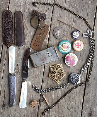 Old collectable items,  Mother of Pearl Pate' Knives, Badges, Gillette Razor Tin