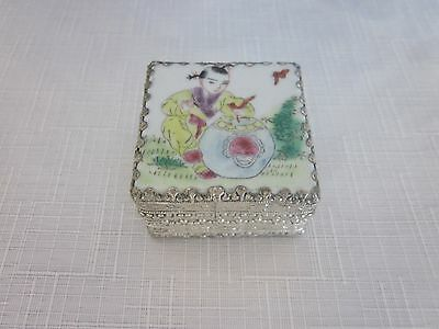 Vintage Chinese Silver Porcelain Hand painted enameled Trinket Pill Box mirror