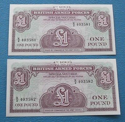 BRITISH ARMED FORCES £1 ONE POUND 4th SERIES UNCIRCULATED CONSECUTIVE NOTES