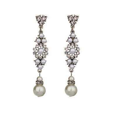 Vintage Art Deco Style Pearl Silver Dangle Drop Earrings Silver Bridal Gift UK