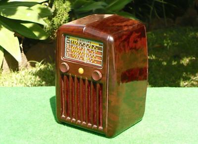 SUPERB 1940's Vintage Art Deco AWA RADIOLA Mottled Brown Bakelite Valve Radio
