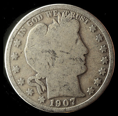 1907-P Barber 90% Silver Half Dollar Ships Free. Buy 5 for $2 off