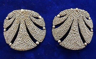 Antique Pair French Made In France Steel Cut Bead Shoe Buckles Clips