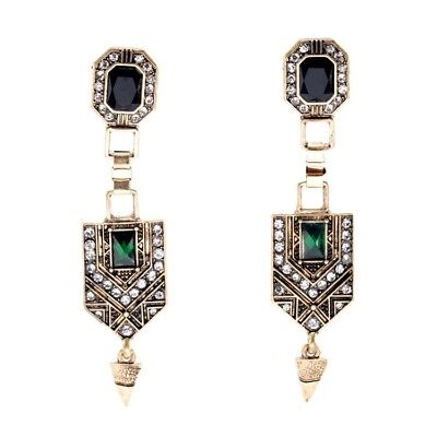 Vintage Art Deco Style Dangle Gold Green Earrings Gatsby Gift Quality UK