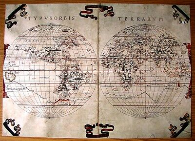 Map  Beautiful Collectable Reproduction On Card The World Tramontana Of 1587