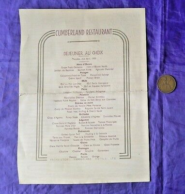 Australian Signed Pre-Ww2 French Restaurant Menu Cumberland Hotel London England
