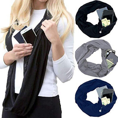Unisex Warm Infinity Scarf With Zipper Pocket Travel Gift Solid Color Collar