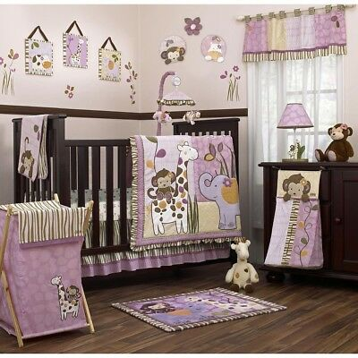 Baby Bedding Set Jungle Cot Bed Nursery Bumpers Quilt Cushion Nappy Stacker Pict