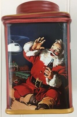Christmas Santa Cookie Jar Stoneware Canister 2002 Coca-Cola Candy Coke