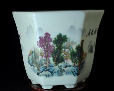 Chinese Old Hand-Made Pastel Porcelain Hand Painted Flowers&trees Flowerpot C01