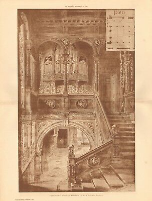 1884 Antique Print Proposed Restoration Of Exterior Of Westminster Hall Architectural & Garden