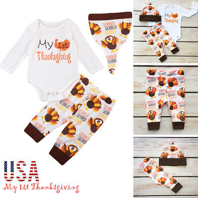 My 1st Thanksgiving Newborn Baby Turkey Outfits Tops Pants Hat 3PCS Set USA