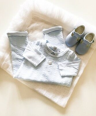 Traditional Baby Boys Quilted Dungarees & Matching Top in Blue