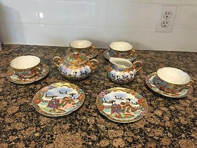 Fine Old Japanese Satsuma Porcelain Meiji Signed 13  Piece Tea Set