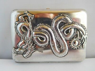 Fabulous Antique Chinese Export Silver Dragon Cheroot Case - Canton Cumshing