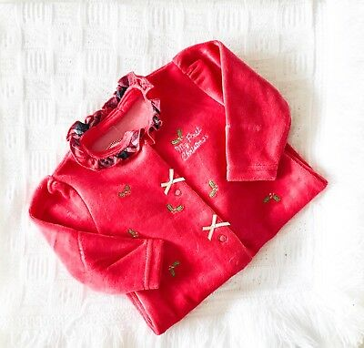 Traditional Style Baby Girls Velour My First Christmas Babygrow in Red & Tartan