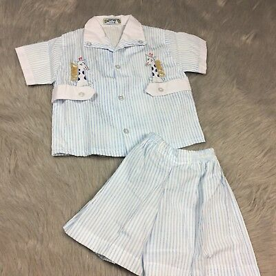 Vintage Toddler Boys White Blue Striped Shirt Short Giraffe Set
