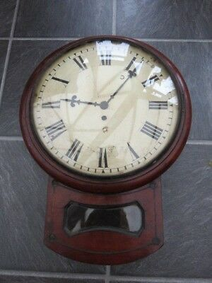 Antique English Drop Dial Fusee Wall Clock For Spares Repair
