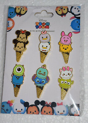 Disney Trading Pin Lot 6 New Booster Set HKDL Tsum Ice Cream Marie Mickey Stitch