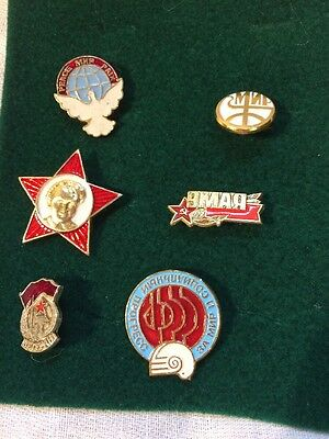 SOVIET RUSSIAN BADGE PIN medal USSR Lot Of 6