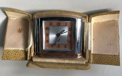 Vintage travelling alarm clock French made maker Jaz.