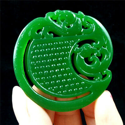 China hand-carved Green jade Dragon 龙 jade pendant Necklace Amulet