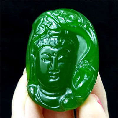 China hand-carved Green jade Guanyin Bodhisattva jade pendant Necklace Amulet