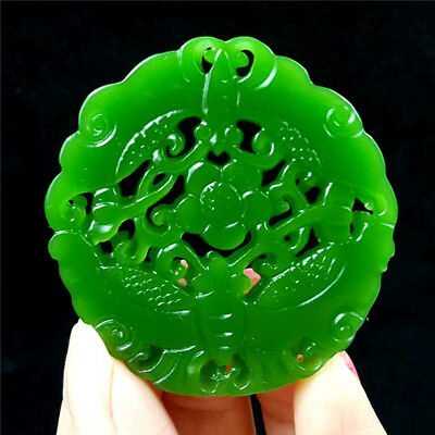 China hand-carved Green jade 福在眼前 jade pendant Necklace Amulet