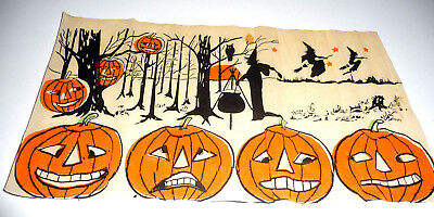 Vintage Halloween Crepe Section Where The Witches And Pumpkins Gather At Night