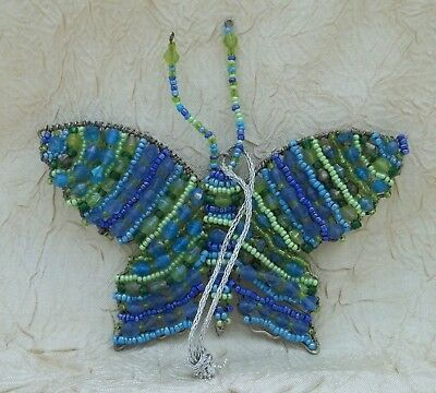 Beaded Butterfly Christmas Ornament Holiday