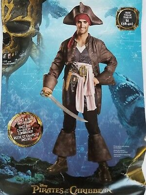 Preowned Pirates of the Caribbean Captain Jack Sparrow Men - 38-40 Adult Costume