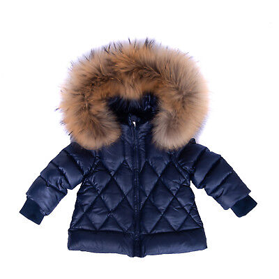 LE BEBE Down Quilted Jacket Size 6M Full Zip Detachable Hood & Fur Trim