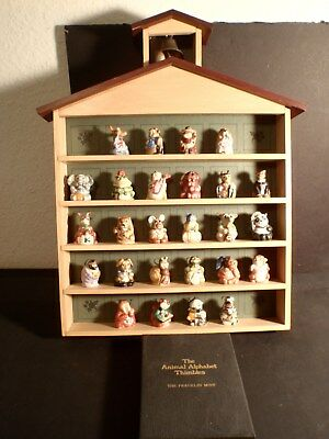 Franklin Mint Animal Alphabet Thimbles in display case w/Cards, 1985