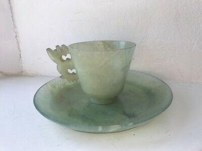 Antique Carved Chinese Jade Hard Stone Cup & Saucer