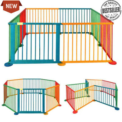 Baby Child Children Wooden Foldable Playpen Play Pens Room Divider Fun 8 Side UK