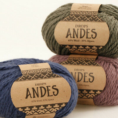 DROPS ANDES 35% ALPACA 65%WOOL 100g Chunky Bulky Warm Winter Knitting Yarn