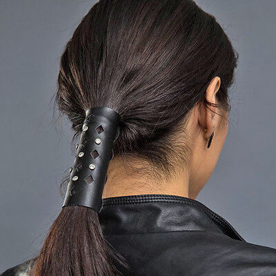 """Hair Glove® 4"""" Leather Tapered Diamond Cut-out w/Crystals 11442 Ponytail Holder"""