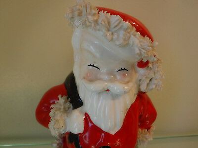 Vintage Christmas Santa Ceramic Planter Vase Spaghetti Trim Napco Label Japan