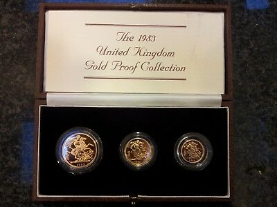 1983 United Kingdom Gold Proof 2, 1, 1/2 sovereign 0.824 oz total in Mint Box