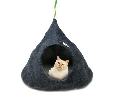 WhiteTail Naturals Cat Cave Bed (Large) Soft, Natural Merino Wool Tent | AIS-20
