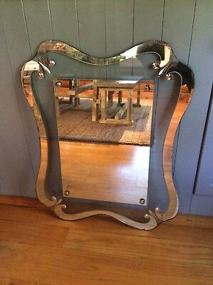 Antique Vintage Cut Glass Bedroom Decorative Boudior Wall Mirror Free Shipping