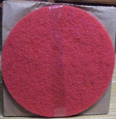 "3M Red Buffer Floor Pads 17"" for Floor Scrub Polish Machine Case of 5 NEW"