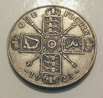 1923 Silver 1 Florin / 2 Shillings - Great Britain Silver Coin - King George V