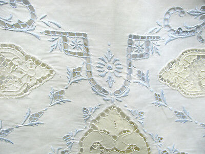 PAIR of Antique Handmade LINEN Sheets with LACE TRIM, 2 matching Pillowcases